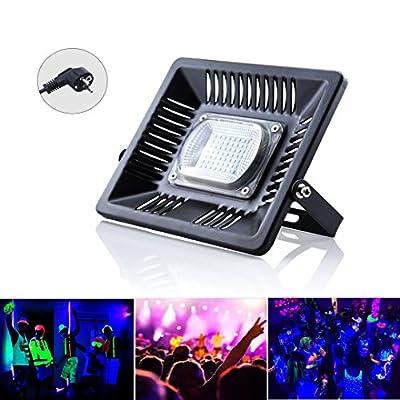 Bonlux 30W UV LED Black Light, 60 LEDs IP65 Waterproof UV Flood Light AC 85-265V for Black Light Parties, Neon Glow Parties, Disco, Night Clubs, Bar and Stage Lighting