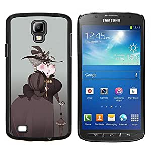"""For Samsung Galaxy S4 Active i9295 Case , Arte Aristocrat Mujer Sombrero Negro Paraguas"""" - Diseño Patrón Teléfono Caso Cubierta Case Bumper Duro Protección Case Cover Funda"""
