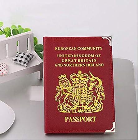 DIVISTAR Rouge Cuir PU Passeport Coque pour Homme Femme Voyage Voyage Passeport Carte didentit/é Support Coque Organiseur Passport Protector Portefeuille pour Britanniques et europ/éennes