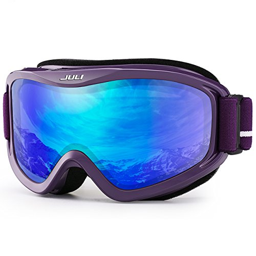 JULI OTG Ski Goggles-Over Glasses Ski / Snowboard Goggles for Men, Women & Youth - 100% UV Protection Anti-fog Dual Lens(Purple Frame+14%VLT REVO Blue Len)