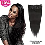Clip In Extensions Black Human Hair Thick Clip In Hair Extensions For Black Women Remy Human Hair Extensions Black 8pcs 100g(14 inch, #1B(Off Black))