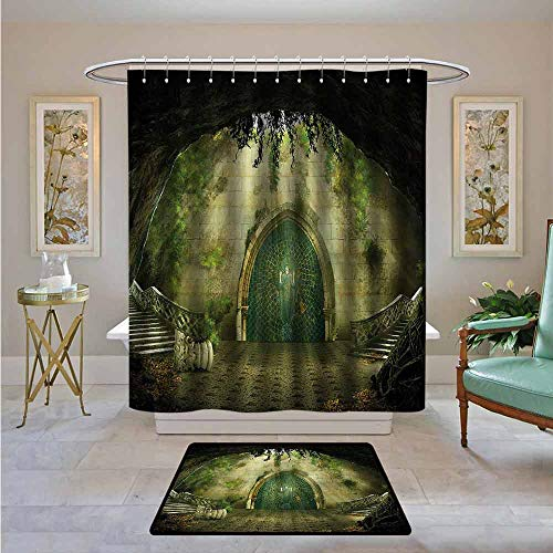 Kenneth Camilla01 Waterproof Shower Curtain Retro,Ruins of Castle Lady Figure,Bathroom Curtain with Hooks Set 72