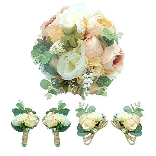 Abbie Home 5pcs Wedding Bouquet Kit - Artificial Roses Peony Lily Bridal Flowers Wrist Corsage Boutonnier (Bouquet Set)