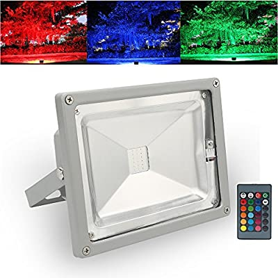 LVJING 10W RGB Led Flood Light Spotlight, 16 Color Changing Security Light, IP65 Waterproof, with a US Plug and a Remote Control, 420~510LM, for Home Garden Patio Yard Driveway Pond Garage Sidewalk Backyard Decoration
