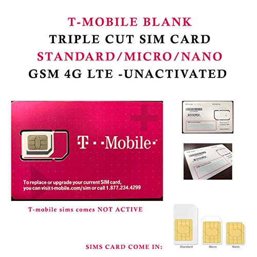 T-MOBILE TRIPLE CUT SIM CARD • STANDARD / MICRO / NANO GSM 4G LTE - Sim Cards