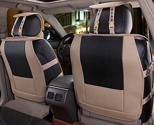 Sunroadway® Universal Full Set Needlework PU leather Front Rear Car Seat Cushion Cover 10pcs (Black) (Black)