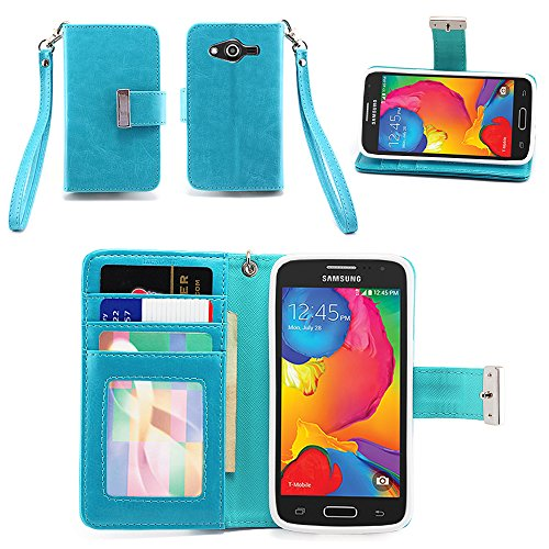 IZENGATE Samsung Galaxy Avant Wallet Case - Executive Premium PU Leather Flip Cover Folio with Stand (Turquoise Blue)