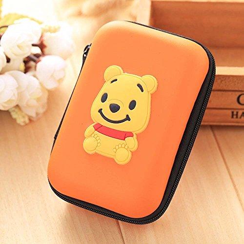 ZOEAST(TM) Mini Cartoon Coin Key Purse Case Earphone Line iPhone Data Cable Storage Bag Portable Headphone Box Packing (Rectangle Box, Winnie Bear)