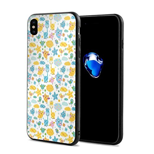 (Phone Case Cover for iPhone X XS,Owls Birds and Giraffes Childrens Patchwork Style Animals and Colorful Clouds,Compatible with iPhone X/XS 5.8)