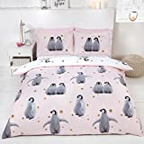 Rapport Starry Penguins 2 Piece UK Single/US Twin Sheet Set, 1 x Double Sided Sheet and 1 x Pillowcase - Pink