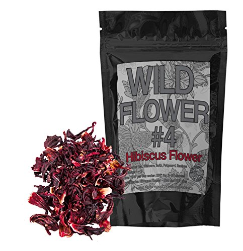 Dried Whole Hibiscus Flowers - Organically Grown -Perfect for Homemade Tea Blends, Potpourri, Bath Salts, Gifts, Crafts Wild Flower #4 (4 ounce) (Flowers Organic Hibiscus Dried)