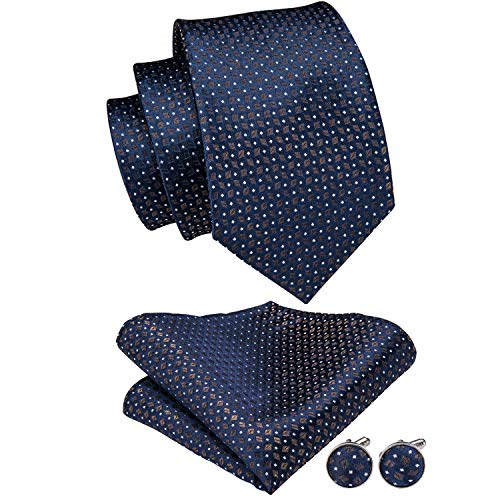 - Hi-Tie Blue Gold Polka Dot Tie Handkerchief Classic Men's Necktie & Pocket Square Set