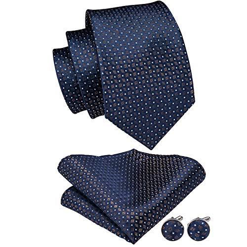 Blue Polka Dot Necktie - Hi-Tie Blue Gold Polka Dot Tie Handkerchief Classic Men's Necktie & Pocket Square Set