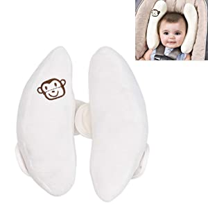 Angzhili Adjustable Baby Car Seat Stroller Safety Pillow,Soft Head Neck Support, Banana U-Shape Children Travel Headrest Head Protection Pillow (White)