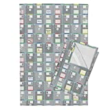 Technology Gadgets Geek Retro Outdated Technology Computer Disks Tea Towels 3 1/2'' Floppy Disks by Robyriker Set of 2 Linen Cotton Tea Towels