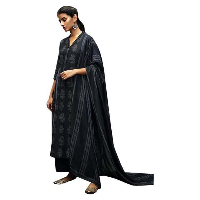 ETHNIC EMPORIUM - Traje de Seda Kora para Mujer, Color Negro ...