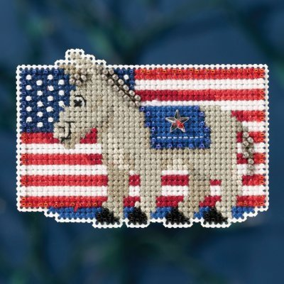 Patriotic Blue Beaded Counted Cross Stitch Ornament Kit Mill Hill 2016 Autumn Harvest MH181626