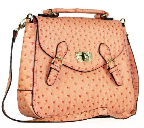 Ladies Classy Orange Ostrich Effect Satchel Design Structured Shoulder or Grab Bag Handbag with Detachable Strap