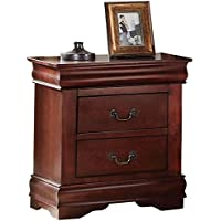 Acme Louis Philippe Nightstand with 2 Drawers (Cherry)