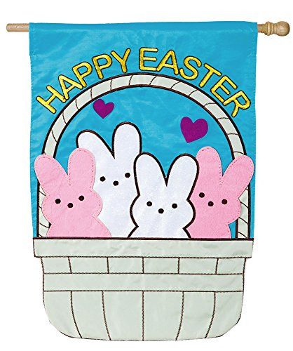 Evergreen Peeps in a Basket Applique House Flag, 28 x 44 inc