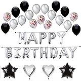 Silver Happy Birthday Balloon Banner, Confetti Balloons,Silver/Black Latex Balloons,Hearts,Stars,43 Count