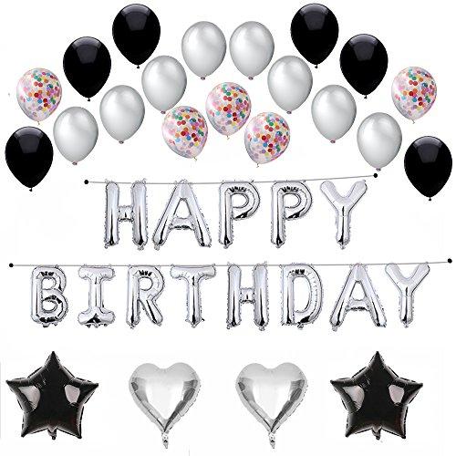 Silver Balloon Birthday (Silver Happy Birthday Balloon Banner, Confetti Balloons,Silver/Black Latex Balloons,Hearts,Stars,43 Count)