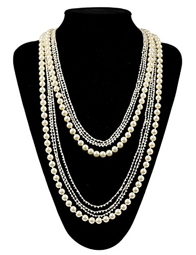 Flapper Girl Vintage 1920s Gatsby Multi-layer Imitation Pearl Choker Necklace 59'' (beige) (Gatsby Outfits Women)