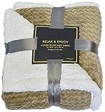 "Napa Super Soft Sherpa Throw Blanket Mocha Chevron 50"" x 60"" Reversible Fuzzy"