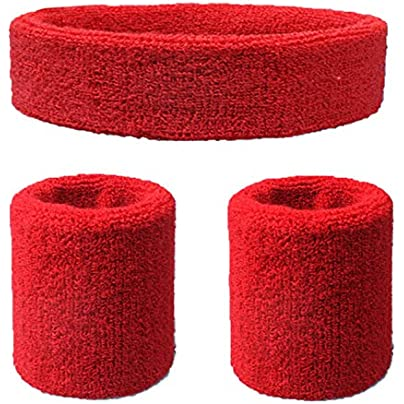 Men Women Elastic Moisture Wicking Thick Sports Headband Solid Soft Sweatband Set Running Knitted Exercise Cycling Wristband Estimated Price £8.19 -