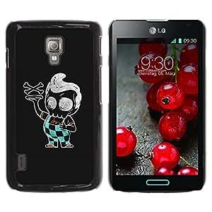 GOODTHINGS Funda Imagen Diseño Carcasa Tapa Trasera Negro Cover Skin Case para LG Optimus L7 II P710 / L7X P714 - Pizza Boy cráneo italiano de la bandera pirata negro