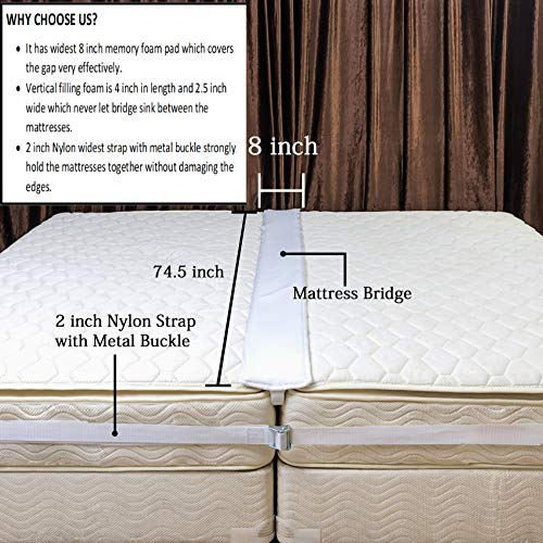 Premium Bed bridge Twin to King Converter Kit/Mattress Connector/Twin Bed Connector/Mattress Extender/King Bed Gap Filler for Guest & Family bed with Extra wide 2