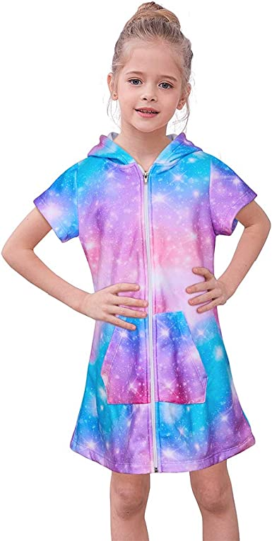 Basumee Girls Terry Cover Up Unicorn Hooded Terry Cloth Swim Coverup for Beach 4-12Y