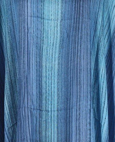 Tropicalsale Women's Plus Size Carolina Blue Striped Caftan Tunic Hippy Top