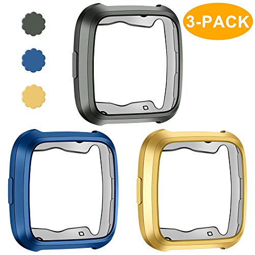 CAVN 3-Pack Compatible Fitbit Versa Case Cover Bumper Protector, Scratch-Resistant TPU Plated Protective Case Frame Protector Shell Guard Compatible Fitbit Versa Smartwatch