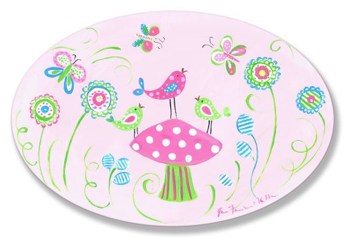 The Kids Room by Stupell Birds on a Pink Polka Dot Mushroom Oval Wall Plaque ()