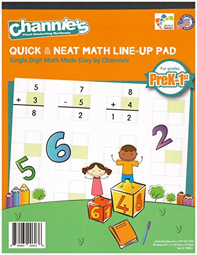 Channie's LR3778 Math Lineup Workbook for Prek-1ST Grades, 80 Pages Strong Paper, 8.5