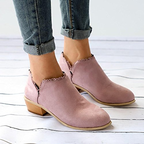 Pink Ankle Boots Martin Casual Women Handmade Fashion Shoes Classic Toe Boots Round Momola xwC7Zq