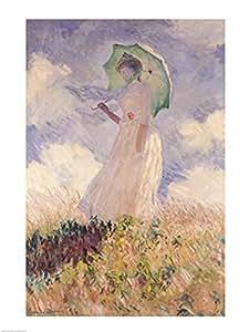 Claude Monet – Mujer con sombrilla vuelta hacia la izquierda Artistica di Stampa (45,72 x 60,96 cm)
