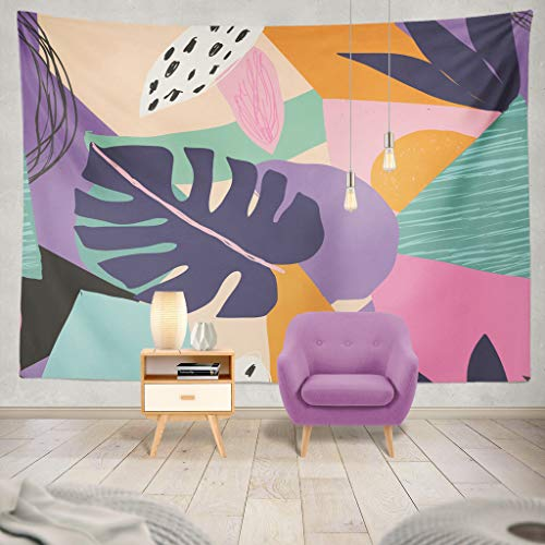 Collection Exotica - ONELZ Decor Collection, Colorful Summer Exotic Floral Tropical Palm Leaves Abstract Bedroom Living Room Dorm Wall Hanging Tapestry 60