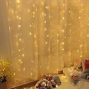 Guirlande Lumineuse Rideau 300 LED Rideau Lumineux 3M*3M 8 Modes d'Eclairage Etanche IP44 Exterieur et Interieur…
