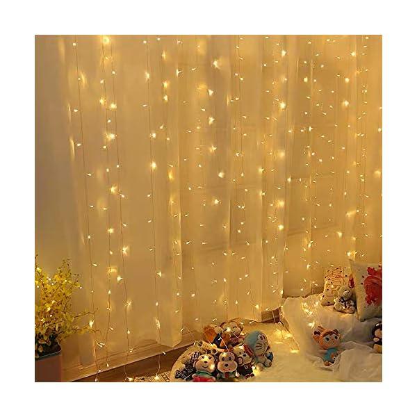 CREASHINE Tenda Luci LED 3 x 3 m, Tenda Luminosa Natale Esterno/Interno, Luci di Natale da Esterno con 8 Modalità di Illuminazione Natale Decorazioni Casa,Camera da Letto,Giardino 1 spesavip