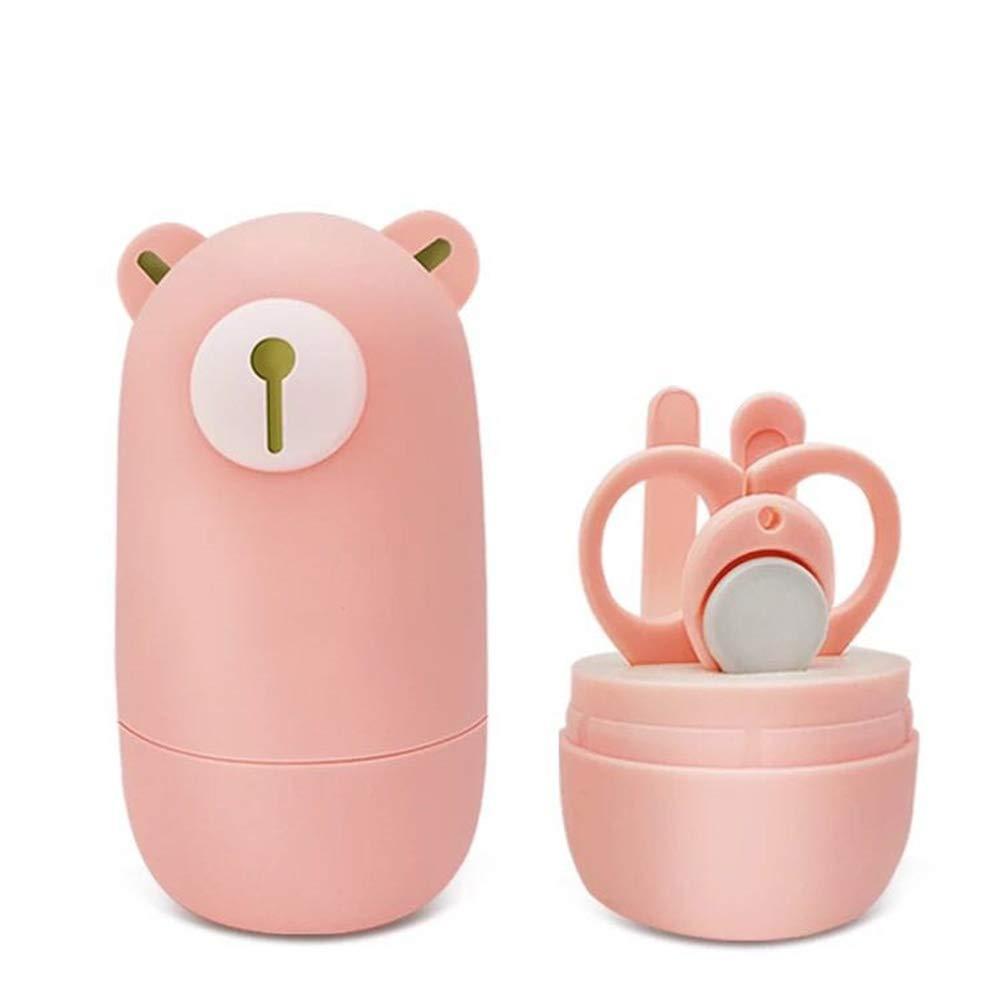 Baby-Nagelknipser Baby-Maniküre-Set Kindersicherheits-Babypflege-Tools-Pflege-Kit mit Baby-Bär-Fall enthält Nagelknipser Scissor Nail File und Nasenpinzette 1Set (4Pcs) Rosa NaiCasy