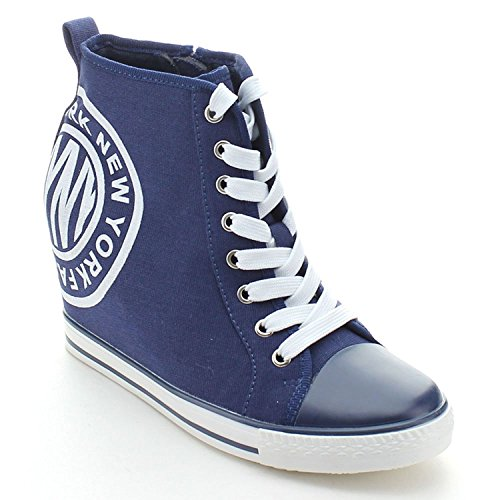 WestCoast Osscar-02 Women's Cap Toe Hidden Wedge Lace up High Top Fashion Sneakers Navy