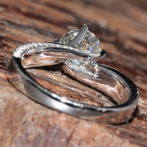 Gowe 1,5carat CT f Couleur Lab Cultivées Charles De fiançailles bague Diamant avec de vrais diamants Accents Genuine14K 585Or blanc