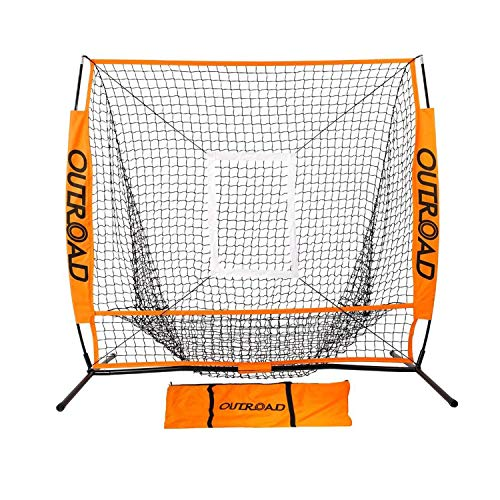 Outroad Baseball Nets Batting & Pitching 5 x 5 - Portable Practice Net w/Bow Frame &Strike Zone Target - Portable & Removable Ball Holder Batting Practice w/Carry Bag -