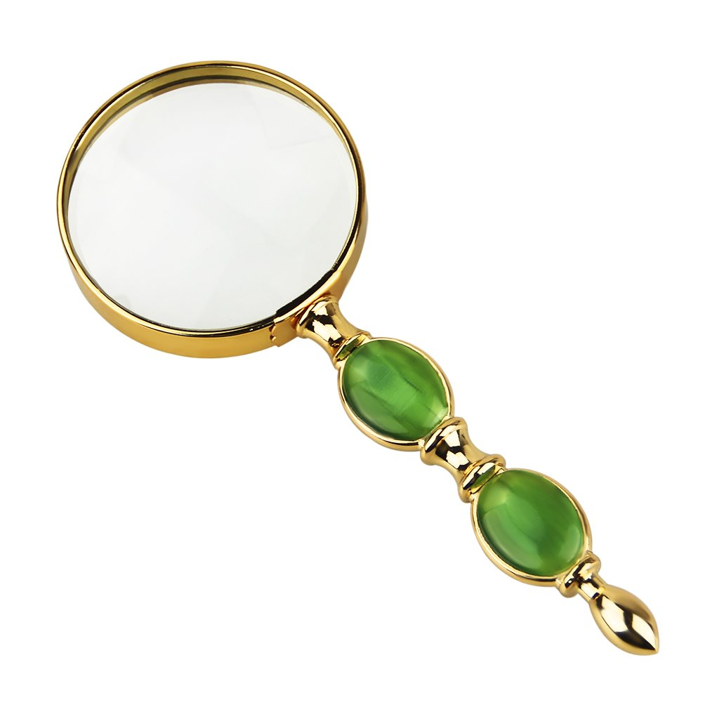 BXT Mini 6X Handheld Magnifer with Jade-Like Decoration 62mm/2.4'' Reading Magnifying Glass for Map,Newspaper,Documents,Labels,Failing Vision,Fire Starting,Jewelry,Crafts,Best Gifts for Seniors Kids