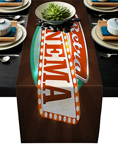 Movie Theater Cotton Linen Table Runner Rectangle Plate Mat Outdoor Rug Runner for Coffee Dining Banquet Home Decor, Retro Style Cinema Sign Design Film Festival Hollywood Theme, 16 x 72 inch -