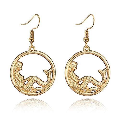 Gold Color Circle Mermaid Dangle Earrings Simple Cute Beauty Mermaid Earrings for Women Girls Jewelry Gifts ()