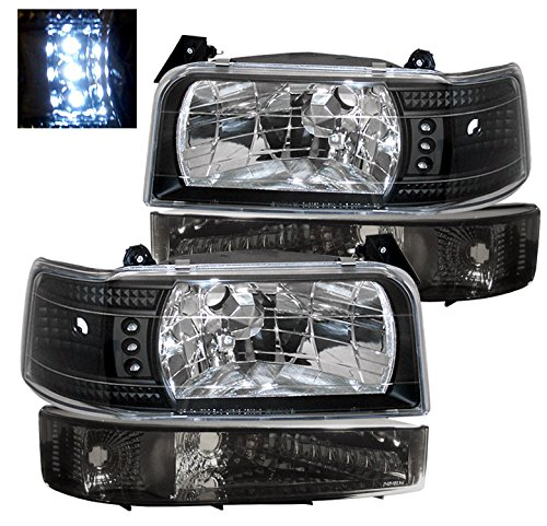 ZMAUTOPARTS For 1992-1996 Ford Bronco/F-150 / F-250 / F-350 LED Crystal Headlights with Smoke Bumper Lights - Black