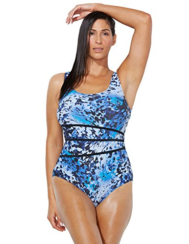 14ae4c554b Aquabelle Women's Plus Size Chlorine Resistant Chase Spliced Tank Swimsuit  18 Blue